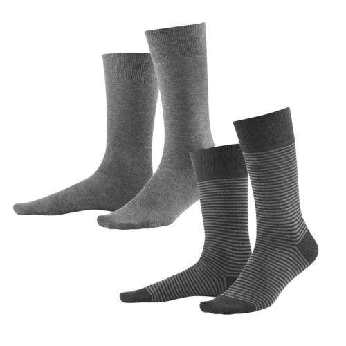 Living Crafts Herren-Strümpfe Arni, 2er Pack (grey/ anthrazit melange)