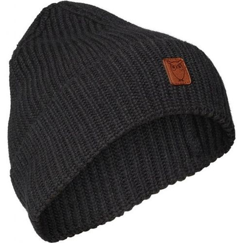 Knowledge Cotton Apparel Leaf ribbing Hat (dark grey melange)